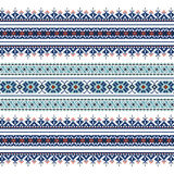 Set of Ethnic ornament pattern in blue colors. Vector illustration. From collection of Balto-Slavic ornaments Royalty Free Stock Images