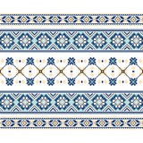 Set of Ethnic ornament pattern in blue colors Royalty Free Stock Photos