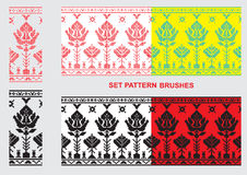 Set of Ethnic ornament pattern brushes. Vector illustration Stock Photos