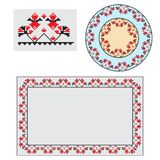 Set of Ethnic ornament pattern brushes. Vector illustration. Set of Ethnic ornament pattern brushes and examples of use . Vector illustration. From collection of Royalty Free Stock Photo
