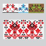 Set of Ethnic ornament pattern brushes. Vector illustration. Set of Ethnic ornament pattern brushes and examples of use . Vector illustration. From collection of Stock Photo
