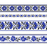 Set of Ethnic ornament pattern with  cross stitch  flower. Vector illustration. From collection of Balto-Slavic ornaments Royalty Free Stock Images