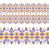 Set of Ethnic ornament pattern with cross stitch flower. Vector illustration. From collection of Balto-Slavic ornaments Vector Illustration