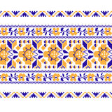 Set of Ethnic ornament pattern with  cross stitch  flower. Vector illustration. From collection of Balto-Slavic ornaments Stock Images