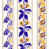 Set of Ethnic ornament pattern with cross stitch flower. Vector illustration. From collection of Balto-Slavic ornaments Stock Illustration