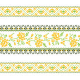 Set of Ethnic ornament pattern with  cross stitch  flower. Vector illustration. From collection of Balto-Slavic ornaments Stock Photo