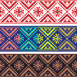 Set of Ethnic ornament pattern in different colors. Vector illustration. From collection of Balto-Slavic ornaments Royalty Free Stock Photos
