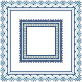 Set of Ethnic ornament pattern frames in blue colors Royalty Free Stock Images