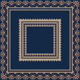 Set of Ethnic ornament pattern frames in blue colors. Vector illustration. From collection of Balto-Slavic ornaments Stock Photography
