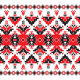Set of Ethnic ornament pattern in red and black colors Royalty Free Stock Image