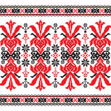 Set of Ethnic ornament pattern in red and black colors Stock Photos