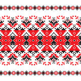 Set of Ethnic ornament pattern in red and black colors Stock Images