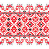 Set of Ethnic ornament pattern in red, black and white colors Royalty Free Stock Image
