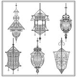 Set of ethnic ornamental lights in black and white Stock Image