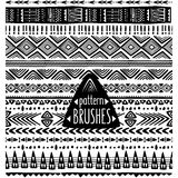 Set of ethnic pattern Trible brushes Royalty Free Stock Image