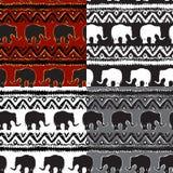 Set of Ethnic    Seamless Pattern with elephants Royalty Free Stock Image