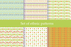 Set of ethnic seamless patterns. Royalty Free Stock Images