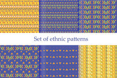 Set of ethnic seamless patterns. Aztec geometric background. Hand drawn navajo fabric. Royalty Free Stock Images