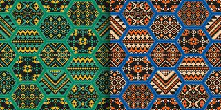 Set of ethnic seamless patterns with geometric ornament and patchwork tiles. Set of ethnic seamless patterns. Aztec, Navajo, Boho print. Geometric design vector illustration