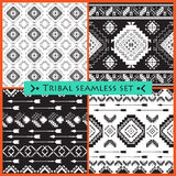 Set of 4 ethnic seamless patterns. Royalty Free Stock Photo