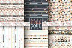 Set of 6 ethnic seamless patterns. Tribal geometric background. Stylish trendy fabric. Modern abstract wallpaper. Vector illustration Stock Photography