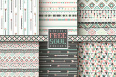 Set of 6 ethnic seamless patterns Royalty Free Stock Photography