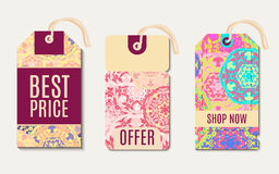 Set ethnic tag, gift coupon Stock Image