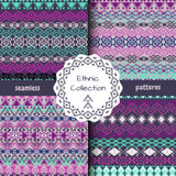 Set of ethnic tribal geometric patterns Stock Image