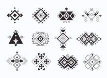 Set of ethno tribal aztec symbols. geometric ethnic decor elements collection. vector illustration