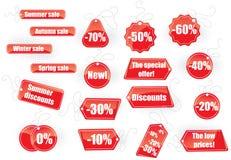 set etiketter för försäljning Arkivbild