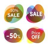set etiketter för försäljning Rabatt- och för prisförminskning emblemsamling Isolerade Colofrul lägenhetsymboler vektor illustrationer