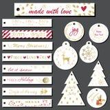 set etiketter för julgåva Royaltyfria Bilder