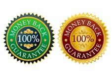 set etiketter för tillbaka pengar Arkivbild
