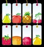 set etiketter för 1 frukt Arkivbild