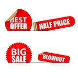 set etiketter för försäljning Modern röd stil vektor Arkivbilder