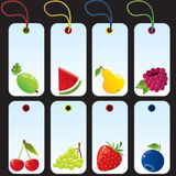 set etiketter för frukt Royaltyfria Foton