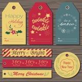 set etiketter för julgåva Royaltyfri Bild