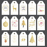 set etiketter för julgåva Arkivbild