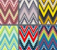 Set etniczni bezszwowi wzory Nowożytna abstrakcjonistyczna tapeta Zdjęcie Royalty Free
