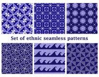 Set etniczni geometryczni bezszwowi wzory Obrazy Stock