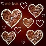 Set etniczni złoci serca z perłami. royalty ilustracja