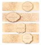 Set etniczny ornamentów sztandarów pojęcie Rocznik sztuka tradycyjna, islam, język arabski, hindus, ottoman motywy, elementy wekt Fotografia Royalty Free