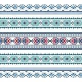 Set Etniczny ornamentu wzór w błękitnych kolorach Zdjęcia Royalty Free