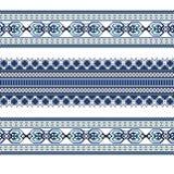 Set Etniczny ornamentu wzór w błękitnych kolorach Zdjęcie Stock