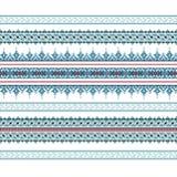 Set Etniczny ornamentu wzór w błękitnych kolorach Zdjęcie Royalty Free