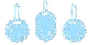 Set etykietki Dekorować z płatek śniegu i Chaplets royalty ilustracja
