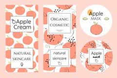 Set etykietki dla jabłczanych kosmetyków Zdjęcia Royalty Free