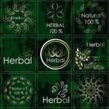 Set etykietki dla produktów robić od ziele, medycyn i pharma, ilustracja wektor