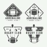 Set etykietki, emblematy i logo rocznika futbolu amerykańskiego i rugby, Zdjęcie Royalty Free