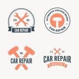 Set etykietki, emblematy i logo rocznika mechanika, również zwrócić corel ilustracji wektora ilustracja wektor